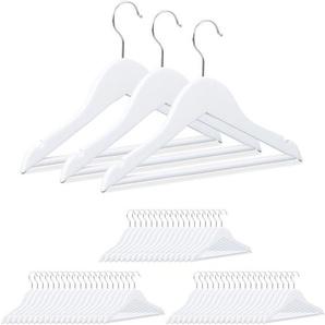 60 x Kinderkleiderbügel, Holz, 360° drehbarer Haken, Holzkleiderbügel Kinder, HxB: 18 x 30,5 cm, Kleiderbügel Set, weiß - RELAXDAYS