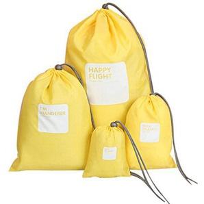 Festnight 4 teilige-Set Reise Aufbewahrungsbeutel Wasserdichte Nylon Kordelzug Männer und Frauen Falten Kleidung Verpackung Schuhe Gepäck Lagerung Taschen Beutel (Gelb)