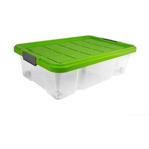 BigDean Unterbettbox mit Rollen 60x40x18 cm Box transparent,Deckel Limegrün