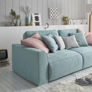 Design Big Sofa WEEKEND 250cm aquamarin Schlafsofa mit Bettkasten inkl. Kissen