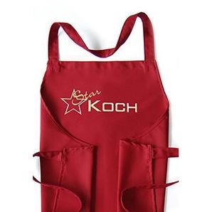 Latzschürze Star-Koch, Schürze bordeaux, hochwertig bestickt, Kochschürze, Küchenschürze