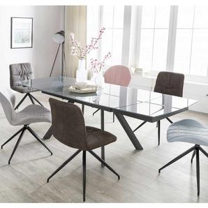 XL Esstisch mit Glasplatte in Grau 240 cm breit