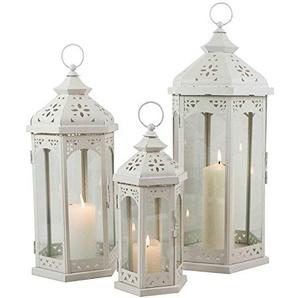 Multistore 2002 3tlg. Laternen-Set H30/40/50cm, Weiß, Laterne Gartenlaterne Kerzenhalter Gartenbeleuchtung Windlicht