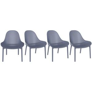Liegestühle stapelbar Grau Indoor/Outdoor (4-er Satz) OSKOL