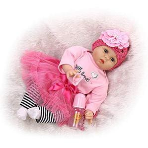 Xurgm Reborn Baby-Puppe Weich Simulation Silikon Vinyl 22 Zoll 55 cm magnetisch Mund lebensechte Boy Girl Mädchen Spielzeug Rosa Blume Kopfschmuck