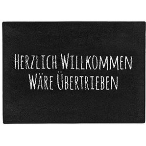 """Pechkeks Fußmatte mit Spruch """"Herzlich Willkommen. """" (Größe 70x50cm; Rutschfest, waschbar, schwarz)"""