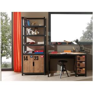 JUSTyou Molopo Kinderzimmer-Set Kinderzimmermöbel Komplett I Kiefer Schwarz