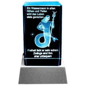 Kaltner Präsente Stimmungslicht LED Kerze/Kristall Glasblock / 3D-Laser-Gravur Sternzeichen Wassermann