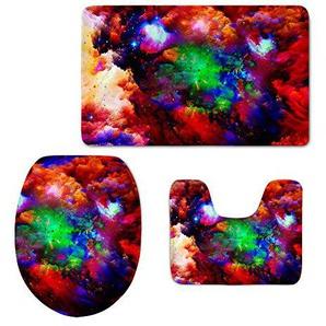 HUGSIDEA Galaxy Star 3-teiliges Badezimmer Teppich Set Contour Teppiche Deckel WC-Deckelbezug Badteppich, Flanell, Galaxy 17, Größe S