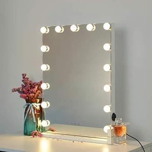DAYU beleuchtete Hollywood Spiegel Schminkspiegel mit Beleuchtung und Touch Control Hollywood-Stil Make-up Kosmetikspiegel mit Lichtern, Tabletop Beleuchteter Kosmetikspiegel Weiß 15 Glühbirnen