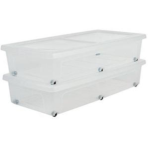 IRIS 135460, 2er-Set Unterbettboxen / Rollerboxen / Aufbewahrungsboxen Modular Clear Box Under Bed, MCB-UB, mit 6 Rollen, Plastik, transparentes Grau, 35 L, 80 x 40 x 16 cm