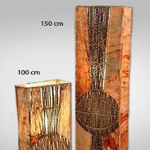 Dekoleuchte Design Deko Lampe Adima 100 cm hoch, Stehleuchte eckig aus Naturmaterial Bast Zweige braun, Stimmungslicht Stimmungsleuchte