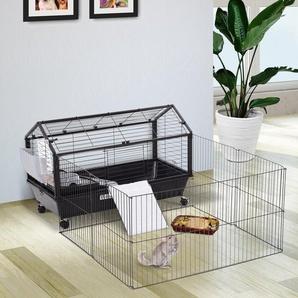 PawHut® Nagerkäfig Hasenkäfig Meerschweinkäfig Kleintier mit Garten Balkon Metall 88 x 130 x 56 cm
