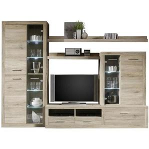 Carryhome: Wohnwand, Glas, Holzwerkstoff, Eiche, B/H/T 285 195 40