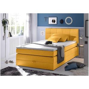 JUSTyou Albany I Boxspringbett Continentalbett Amerikanisches Bett Doppelbett Ehebett Gästebett 140x200 cm Gelb