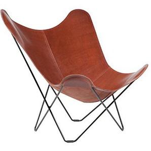 Cuero Pampa Mariposa Butterfly Chair Sessel, mittelbraun Oak 71 BxHxT 87x92x86cm Gestell schwarz