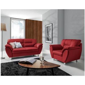 JUSTyou Amigo Polstergarnitur Sofa Couchgarnitur Kunstleder Rot