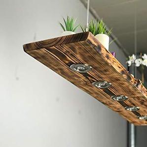 Blockholz-Schmiede Holz Pendellampe Lärche geflammt Smart Home Philips Hue, 5W Dimmbar Warmweiß mit Fernbedinung Smart Home, Größe: 150cm 6 LEDs