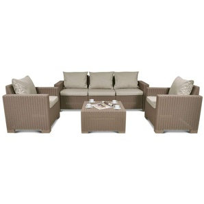 JUSTyou Aruba Mini Sitzgruppe Sitzgarnitur Esszimmergarnitur  Cappuccino Sand