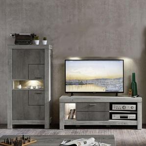 Wohnwand Set GRANADA  Farbe Grau Eiche MDF Breite 348 cm mit Beleuchtung von Wohn-Concept