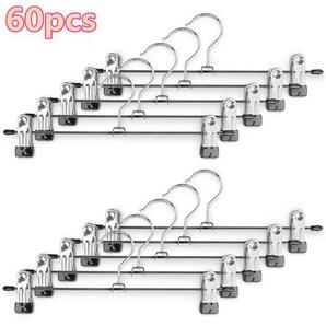 60 Stück Kleiderbügel Clip,Klammerbügel Metall,Anti-Rutsch Hosenbügel Metall Kleiderbügel Rockbügel - WYCTIN