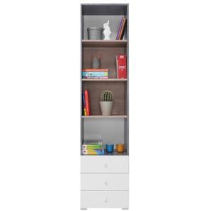Jugendzimmer - Regal Lede 07, Farbe: Grau / Eiche / Weiß - Abmessungen: 190 x 45 x 40 cm (H x B x T)