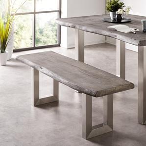 Sitzbank Live-Edge 135x40 Akazie Platin Gestell breit, Bänke, Baumkantenmöbel, Massivholzmöbel, Massivholz, Baumkante, Wolf Live Edge