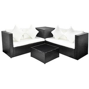 VidaXL Lounge Set Poly Rattan Schwarz Gartenmöbel Sitzgarnitur Sitzgruppe  Sofa