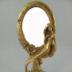 Clever-Deko Schminkspiegel Gold Golden Stehspiegel Frisierspiegel Tischspiegel Standspiegel Spiegel Antik rustikal im Jugendstil/Gründerzeit