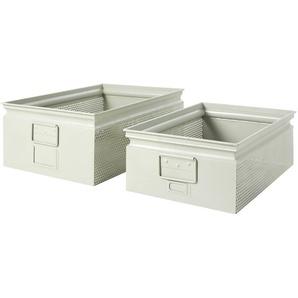 2 Kisten aus perforiertem Metall, hellgrau