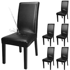 YISUN 4er/6er Set Esszimmer Stuhlhussen, solide Pu Leder Wasserdichte Stretch Esszimmerstuhl Schutzhülle (6-Stück, Schwarz)