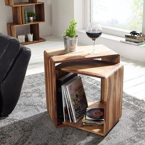 Cube Eolo 50x30 cm Sheesham Natur 2er Set Massivholz, Regalwürfel