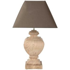 Lampe RICHELIEU aus Mangoholz mit Lampenschirm aus Baumwolle, H 80cm, taupe