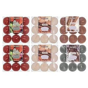 makonen Market Duftkerze mit hohem Duft Teelichter Set 54er 4 Geschmacksrichtungen Sortiment Teelichter (6x9 Packungen) 4 Düfte Vanille Erdbeer Eukalyptus Zimt (Scent Combo A)