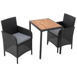 Poly Rattan Gartenmöbel Set Balkonmöbel Sitzgruppe Sitzgarnitur Terrasse schwarz - ESTEXO