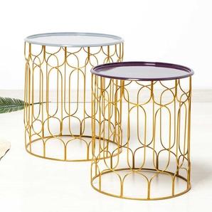 Beitisch in Lila und Goldfarben handgearbeitet (2-teilig)