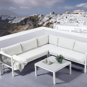 Lounge Set Rattan weiss 4-Sitzer BORELLO