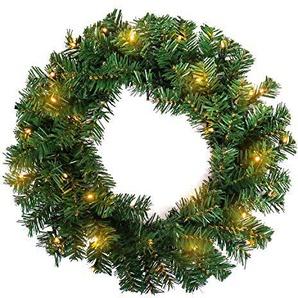 FROADP Weihnachtskranz Türkranz Weihnachtsdeko für drinnen und draußen zum Aufhängen an Türen Wänden & Treppen Hochzeitsdekoration(Ø45cm mit LED, Type F)