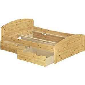 Funktionsbett Doppelbett + 3 Bettkasten 200x200 Seniorenbett Massivholz Kiefer 60.50-20 oR