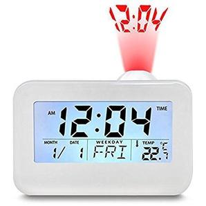 TRADE® Bedside Schreibtisch Wecker, Projektion Digital Voice Talking Cube Studenten Uhr mit LED-Anzeige Snooze-Funktion Smart Hintergrundbeleuchtung Wecker für Schlafzimmer, weiß