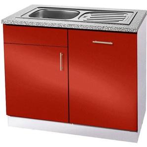 wiho Küchen Spülenschrank »Kiel« 110 cm breit, inkl. Tür/Griff/Sockel für Geschirrspüler, rot