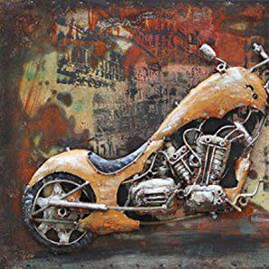 The Wood Times Wandbild XXL 3D Metallbild Custom Bike Metallbild Modern, BxHxT 140x70x3 cm