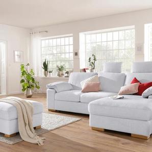 Home Affaire Ecksofa »Ventura« ohne Schlaffunktion, silber, Recamiere rechts, hoher Sitzkomfort