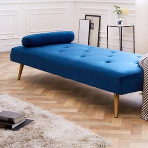 Elegantes Tagesbett DAYDREAM 197cm royal blau Samt Sofabett inkl. Kissen