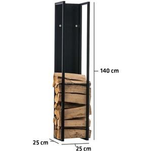 Kaminholzständer Spark-schwarz/matt-25x25x140 cm - BAUWERK MANUFACTURE