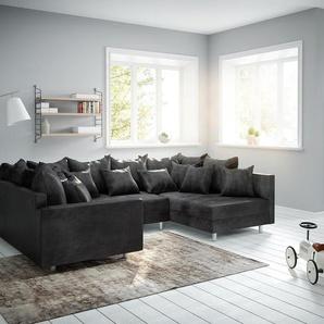 Wohnlandschaft Clovis Anthrazit Antik Optik modular Armlehne, Design Wohnlandschaften, Couch Loft, Modulsofa, modular