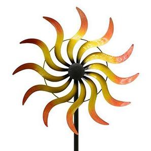 Motiv Windrad - Gelbe Sonne Garten - Klein/Metall - Ø 45cm/Höhe: 170cm - Wetterfest - Hochwertige Qualität & Stabiler Standstab - Gartenstecker/Metallwindrad/Windräder - Motivwindrad