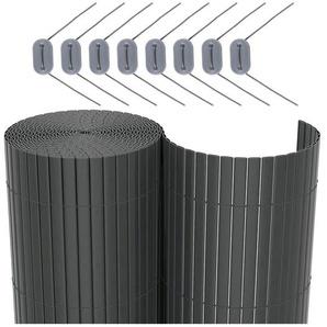 Nature Zaunblende Doppelseitig PVC Grau 1,5x5m Sichtschutzmatte Sichtschutz