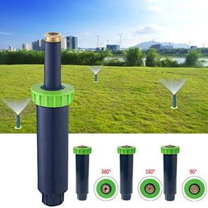 Lunji Automatische Skalierung Bewässerung Rasensprenger, 90/180/360 Grad Bewässerungssystem für Rasen/Garten, mit Einstellbarer Wurfweite (3-4.5 m) (90 Grad)