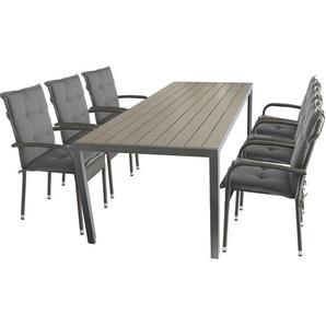13tlg. Gartengarnitur Gartentisch, 205x90cm, Aluminiumrahmen, Polywood-Tischplatte Grau 6x Rattanstuhl Grau-meliert, stapelbar 6x Polsterauflage Grau - WOHAGA®